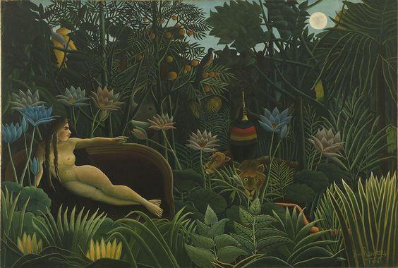 Der Traum (1910) von Henri Rousseau, Museum of Modern Art, New York (Eine Dschungelwelt als Symbol des Unbewussten. Die wilden Tiere als Repräsentanten der Triebsphäre.)