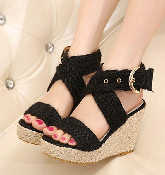 Women Sandals 2015 Summer Retro Casual Jute Fiber Wedge Gladiator Sandals For Women High Heel Flip Flops Women Wedge Sandals-in Women's Sandals