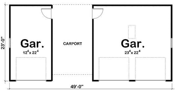 Plan 62479dj 3 Car Garage Plus Carport House Plans 3 Car