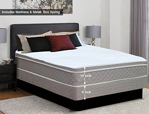 Continental Sleep 10 Inch Plush Medium Eurotop Pillowtop Innerspring Mattress And Metal Box Spring Foundation Set Good Mattress Sets Mattress Plush Mattress