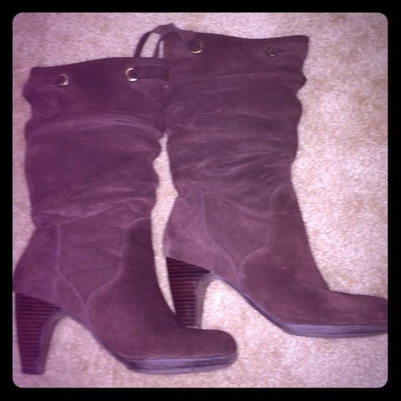 """Suede Slouch Boots One Heel needs to be """"re-soled,"""" however, I never noticed any difference when wearing them. Super comfortable for heeled boots. Connie Shoes"""