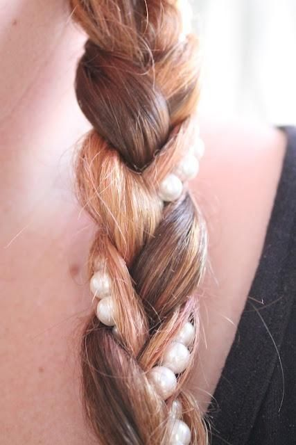 Braid with string of pearls intertwined - LOVE: