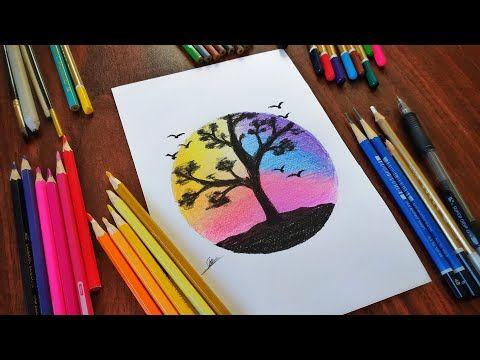 كيفية رسم منظر طبيعي سهل جدا بالالوان الخشبية خطوة بخطوة للمبتدئين How To Draw An Easy Landsca Cute Easy Drawings Drawing Tutorials For Kids Drawing Tutorial