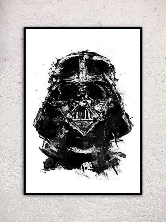 Darth vader star wars acrylic painting print black and for Darth vader black and white