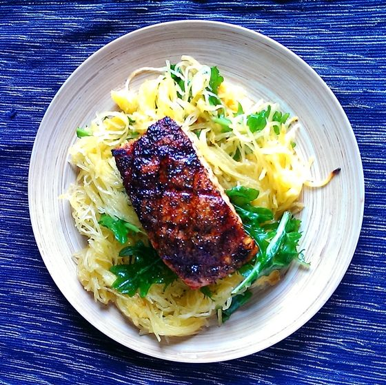 My blackened salmon and spaghetti squash dinner will leave you full and happy.  It's gluten free too!