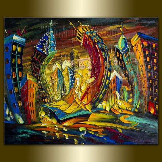 Cityscape Print Limited Edition Fine Art Giclee Canvas Print from ...