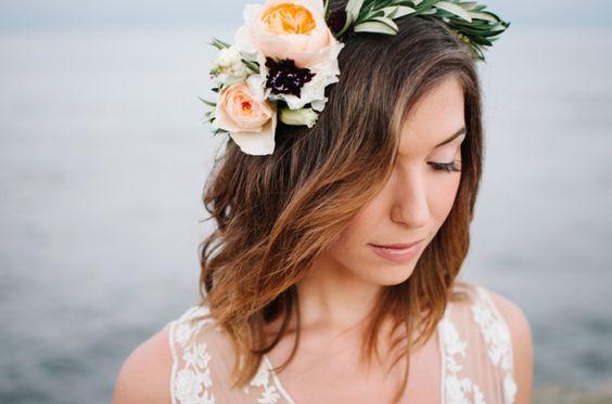 Bold peach garden rose hair crown