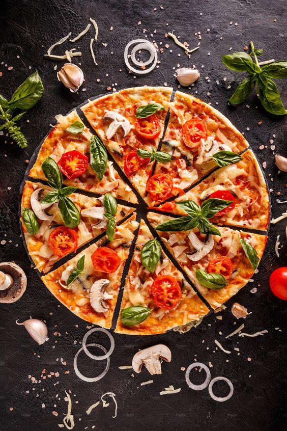 Flat lay with Italian pizza by Grafvision photography on @creativemarket