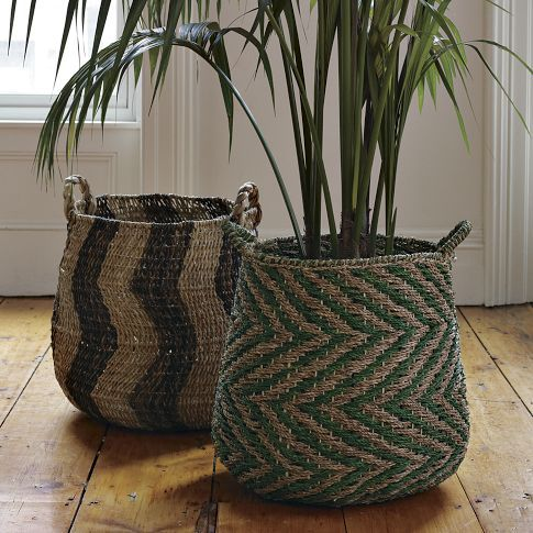Patterned Baskets Blankets Plants And Wicker