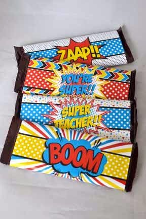 Super Teacher! Super Hero themed Teacher Appreciation Printables and Gifts, set of super teacher themed candy bar wrappers