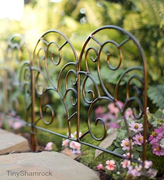Garden Border Wrought Iron Edging Metal Scroll Fence 8 Pc Set 10