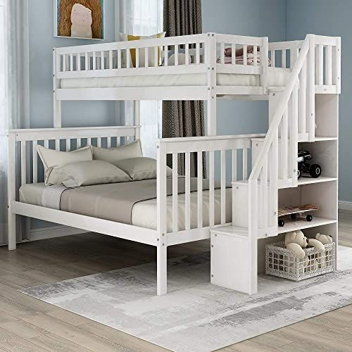 The Solid Wood Twin Over Full Bunk Beds Storage Drawers Kids Bunk