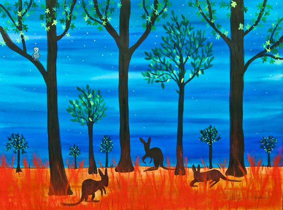 Frane Lessac is the Illustrator Liason for the Society of Children's Book Writers and Illustrators for Australia and New Zealand. This beautiful piece is her interpretation of 'nightly' at One Word, One Day in Perth.