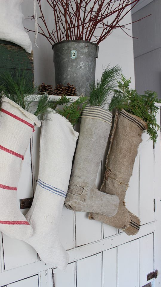 MORE grainsack Christmas stockings coming soon!! RusticFarmhouseWares~etsy~contact me to reserve your custom designs today!: