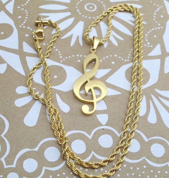 Collana Ciondolo Oro Chiave di Violino Unisex Uomo Donna Nota Musicale Oro lucid