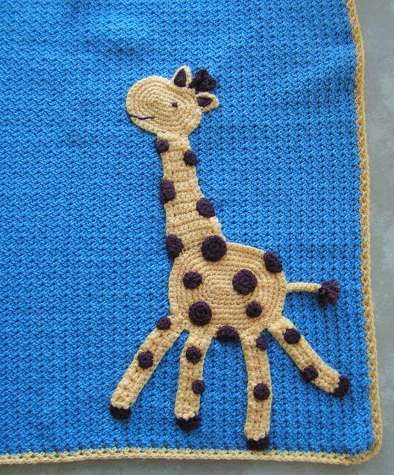 Giraffe baby blanket...cute! Looks like basic crocheting ...