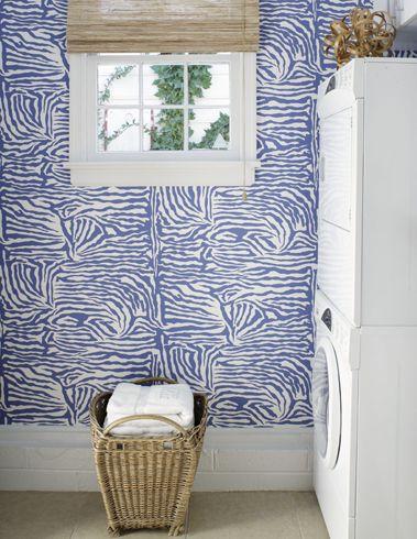 blue zebra! love!: Powder Room, Laundry Room Wallpaper, Wall Paper, Mud Room, Wallpapered Laundry, Laundry Rooms, Zebra Wallpaper