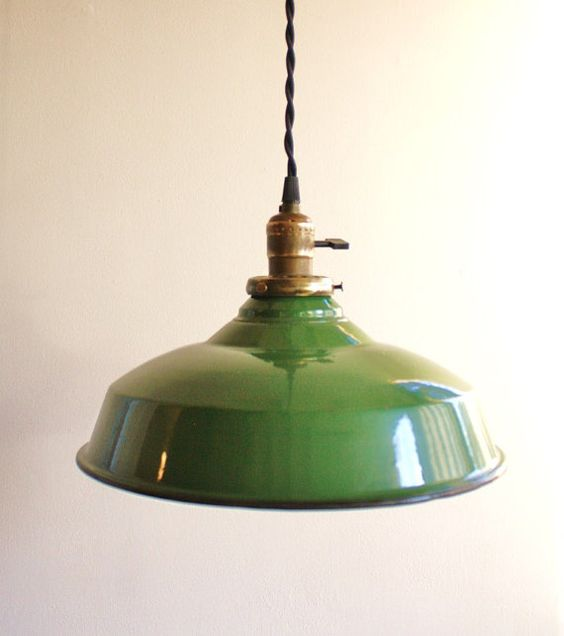 vintage green enamel pendant lamp pendant lights green On green kitchen pendant lights