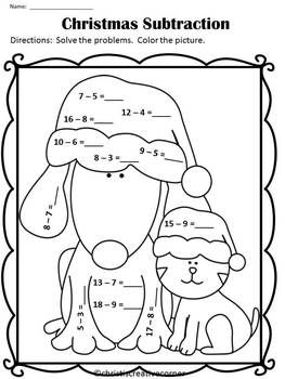 Free Christmas Subtraction Columbus Day Worksheets