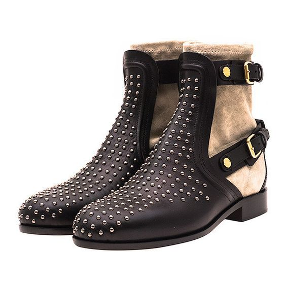 Studded Leather & Suede Boot featuring polyvore, fashion, shoes, boots, flats, moto boots, motorcycle boots, black boots, black biker boots and suede boots