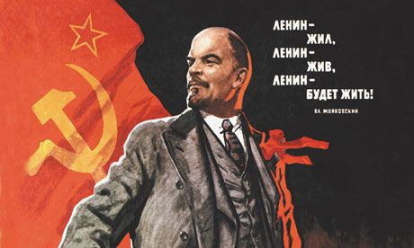 A 1967 Soviet propaganda poster with the legend 'Lenin Lived, Lenin is Alive, Lenin Will Live'.