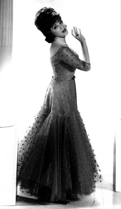 Connie in full length Don Loper gown