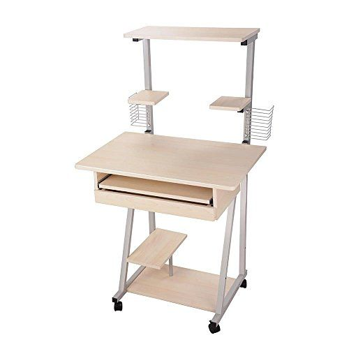 New Wooden Mobile Computer Desk Tower Printer Shelf Laptop Rolling Table Printer Shelf Rolling Table Mobile Computer Desk