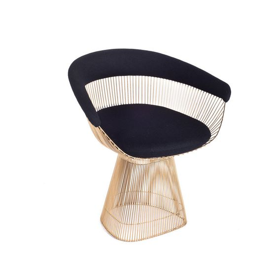 Brass and Wool Curve Chair - Various Finishes – Black Rooster Decor