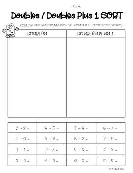 Doubles And Doubles Plus 1 Sorting Worksheet Sorting Worksheets