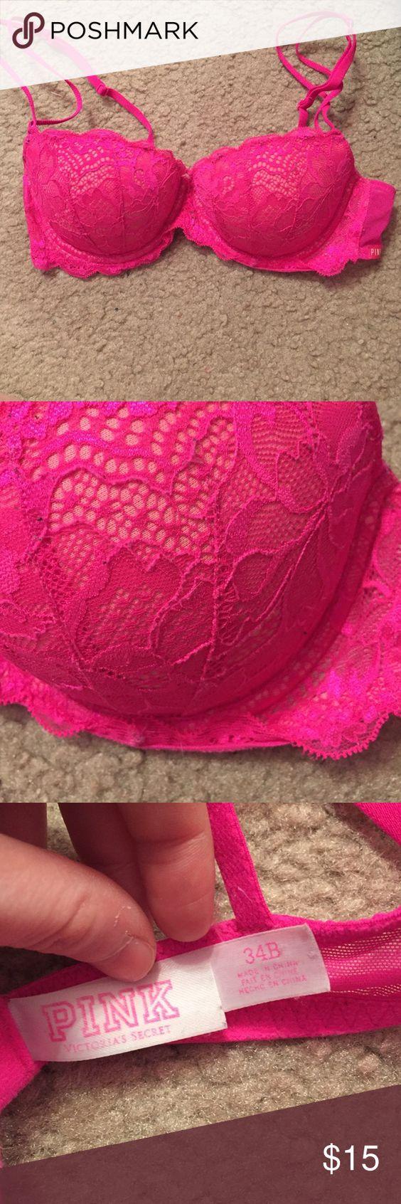 Victoria's Secret Pink bra *Relisted* Worn but in good condition. Victoria's Secret Pink, pink bra. Size 34B. Push-up bra. PINK Victoria's Secret Intimates & Sleepwear Bras