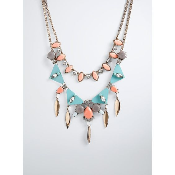 Torrid Double Layered Gemstone Statement Necklace ($29) ❤ liked on Polyvore featuring jewelry, necklaces, gold tone necklace, bib statement necklace, multi layer necklace, statement necklace and oversized necklace