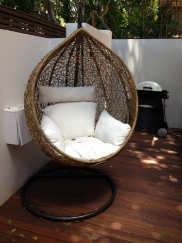 Bn wicker hanging swing egg chair rattan in outdoor pod in Egg pod ball chair