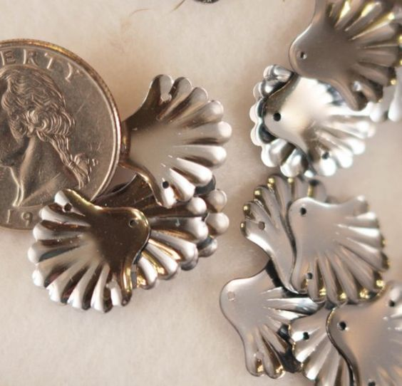 VINTAGE  Small Shimmery Silver Sea Shell Sequins (50) Steampunk, Aged Patina, Some Flaked on Etsy, $3.28 AUD