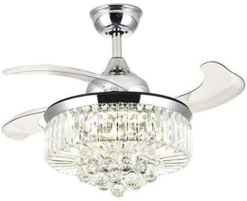 7pm Retractable Ceiling Fans 36 Inch Crystal Invisible Chandelier Fan With Remote Control Dimmable Ceiling Fan With Light Chandelier Fan Ceiling Fan Chandelier