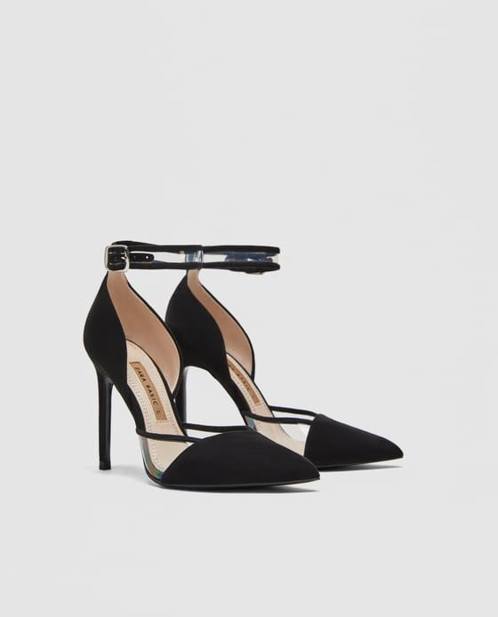 HIGH-HEEL COURT SHOES WITH ANKLE STRAP