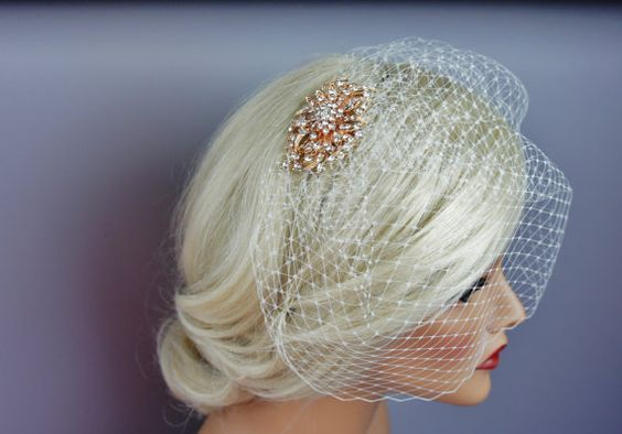 Rose Gold Brooch Birdcage Veil Blusher or by EleganceAtHand