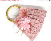 ON SALE pink knitted purse light pink and salmon hand knit cute purse Valentines day, Christmas, birthday gift or for you NEW Season
