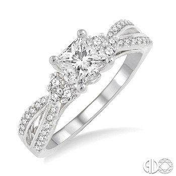 Diamond Engagement Ring with 3/4 Ct Princess Cut Center Stone in 14K White Gold