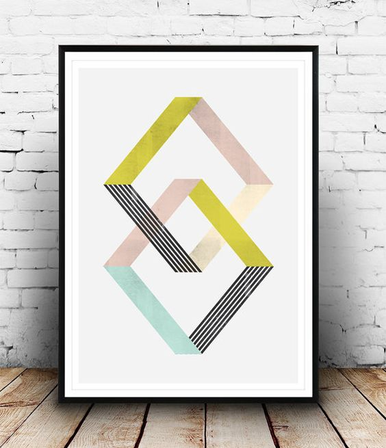 Geometric art print abstract poster minimalist art for Wall drawings simple