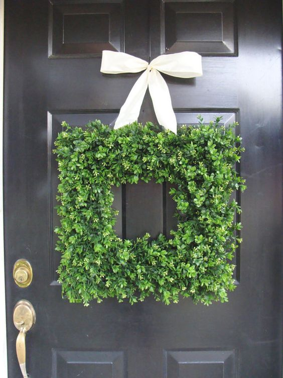 Square Boxwood Wreath- Artificial Boxwood Wreath with Burlap Ribbon- Spring Wreath for Door Choice of Ribbon- Year Round Wreath- 16 INCH. $70.00, via Etsy.: