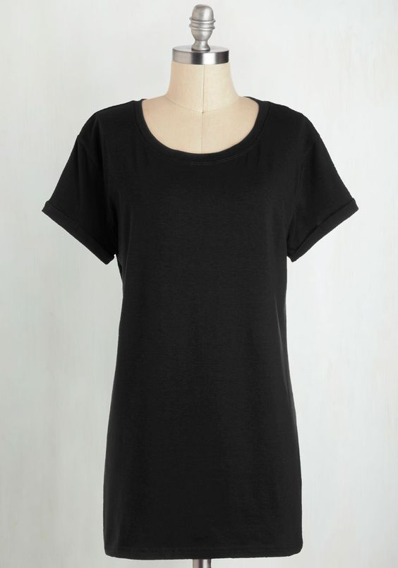 Simplicity on a Saturday Tunic in Black - Long, Jersey, Basic, Black, Solid, Casual, Short Sleeves, Variation, Minimal, Knit, Good, Best Seller, Crew, Black, Short Sleeve, Cover-up, Maternity, 4th of July Sale, Top Rated
