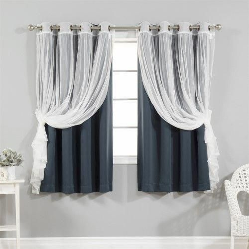 4 Piece Gathered Tulle Sheer And Blackout Curtain Set Blue