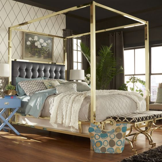 Solivita queen size canopy gold metal poster bed by for Gold canopy bed frame