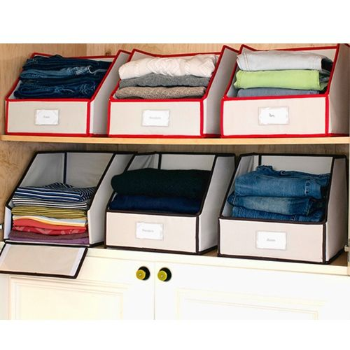 Organize clothes - like these for clothes in top of closet