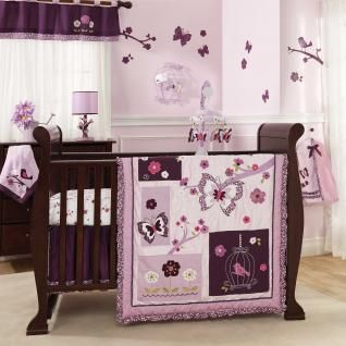 purple butterfuly baby bedding | Purple and Lavander Butterfly Bird Baby Girl 5pc Nursery Crib Flower ...