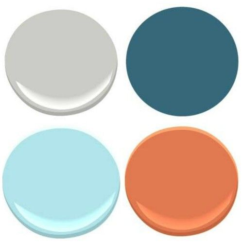 """BENJAMIN MOORE: STONINGTON GRAY, POOLSIDE (not to be confused with Poolside Blue""""), ORIOLE, BLUE SEAFOAM"""