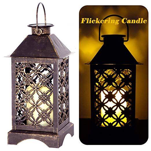 Amazon Com Solar Lantern Indoor Or Outdoor 4leafclover Bronze Antique Metal Construction Solar Powered Solar Lanterns Hanging Lanterns Metal Construction