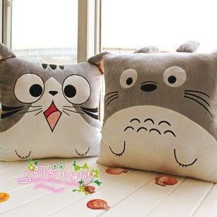 Chat en peluche oreiller coussin oreiller coussin de sofa kaozhen totoro peluche cadeau d'anniversaire