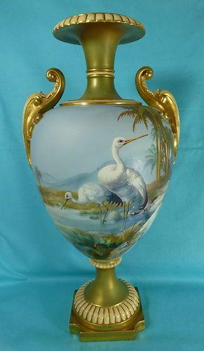 Royal Worcester Porcelain Vase Storks, Walter Powell, 1909: