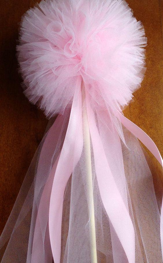 5 tulle tutu pom pon Wand, decorazione del partito, fata bacchette, bacchette di principessa, pompon centrotavola tutù bacchetta